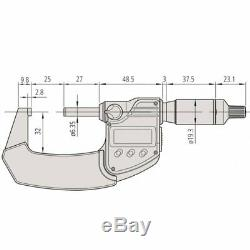 25-50mm (1-2) QuantuMike Micrometer Coolant Proof IP65 Ratchet Thimble