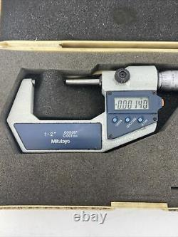 MITUTOYO 1-2 DIGITAL OUTSIDE MICROMETER 293-722-30 With CASE. 00005