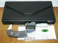 MITUTOYO 1-2 Inch DIGITAL MICROMETER NO 293-345 with CASE & 1 INCH STANDARD