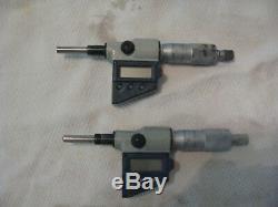 MITUTOYO DIGITAL 0-1 MICROMETER HEAD RESOLUTION. 00005/. 0001MM- 2 units