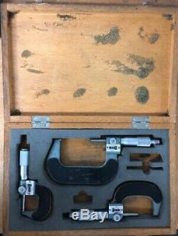 MITUTOYO MICROMETERS 0-3 Mechanical Digit Micrometer Set