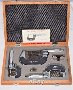 MITUTOYO MICROMETERS 0-3 Mechanical Digit Micrometer Set 193-923
