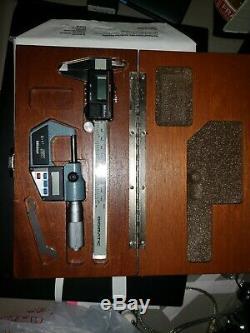 Mitutoyo 0-1 Digital Micrometer 293-765 and. 01-150mm Caliper 500-351 in Case