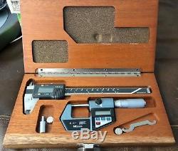 Mitutoyo 0-6 Digital Caliper 500-196-30, Digital Micrometer 0-1 in Wood box