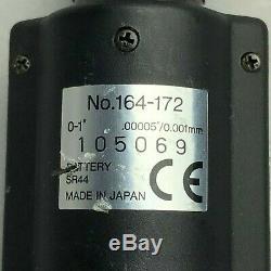 Mitutoyo 164-172 Digimatic Carbide Tip Micrometer Head, Range 0-1/Div 0.00005