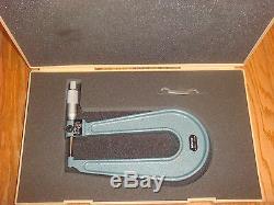 Mitutoyo 189-102 Sheet Metal Micrometer, Ratchet Stop, 0-25mm Range, 0.01mm Grad