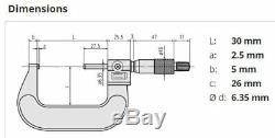 Mitutoyo 193-111 Digit Outside Micrometer, 0-25mm Range, 0,001mm Graduation
