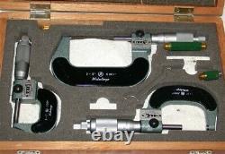 Mitutoyo 193-923 Digit Outside Micrometer Set, 0-3 Range, 0.0001 Graduation
