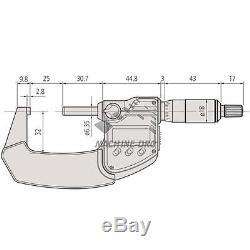 Mitutoyo 25-50mm IP65 Coolant Proof Digital Point External Micrometer 293-345