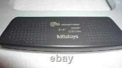 Mitutoyo 293-333-30, 3-4 Digital Micrometer, Ip65.00005, Spc, Ratchet Thimble