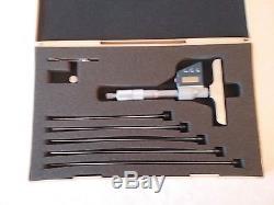 Mitutoyo 329-711 Digital Depth Micrometer Interchangeable Rod Type 0-6/0-150mm