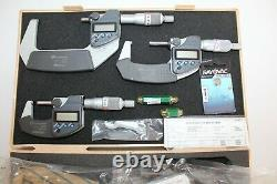 Mitutoyo 3pc Digital Outside Micrometer Set 0-3 293-960-30 Japan With Case