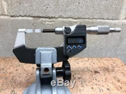Mitutoyo 422-360 0 -1 Digital Blade Micrometer with 156-101-10 Mitutoyo Stand