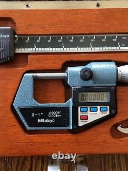 Mitutoyo Digital Caliper CD-6B, Micrometer 293-765-10 Set In Wood Case
