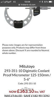NEW MITUTOYO 5-6/125-150mm COOLANT PROOF DIGIMATIC MICROMETER 293-351-10