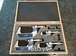 Set of 4 Mitutoyo Digital Micrometer Set 0-4