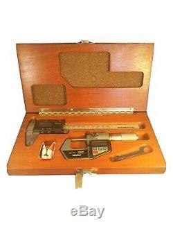 Vintage MITUTOYO Digimatic Digital Caliper & Micrometer Set in Wood Case