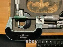 Vintage Mitutoyo 193-923 Digit Outside Micrometer Set, 0-3 Range, 0.0001