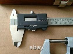 Vintage Mitutoyo Digital Caliper and Micrometer No. 293-705 Set with CaseJapan